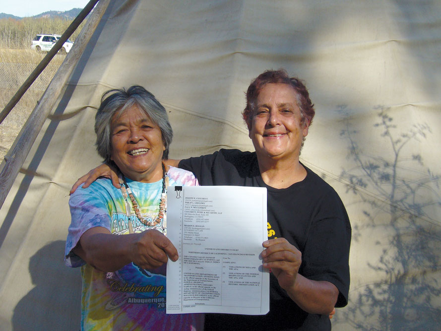 Celebrating the filing of a lawsuit in 2015 against Caltrans to protect sacred sites in the Willits Highway Bypass Project